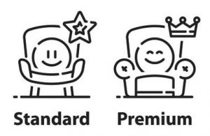 service upgrade concept, two options, standard account, premium plan, experience improvement, better offer, emoticon in armchair, vector line icon set in black & white