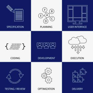 software development life-cycle process - concept vector graphic